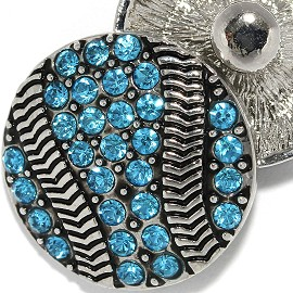 18mm 1pc Snap Charm On Blue Basketball Rhinestone ZR2065