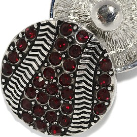 18mm 1pc Snap Charm On Dark Red Rhinestones Basketball ZR2067