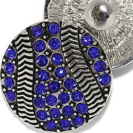 18mm 1pc Snap Charm On Blue Rhinestones Basketball ZR2068