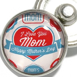 1pc 18mm Snap On Charm Round Happy Mother's Day Heart ZR2124
