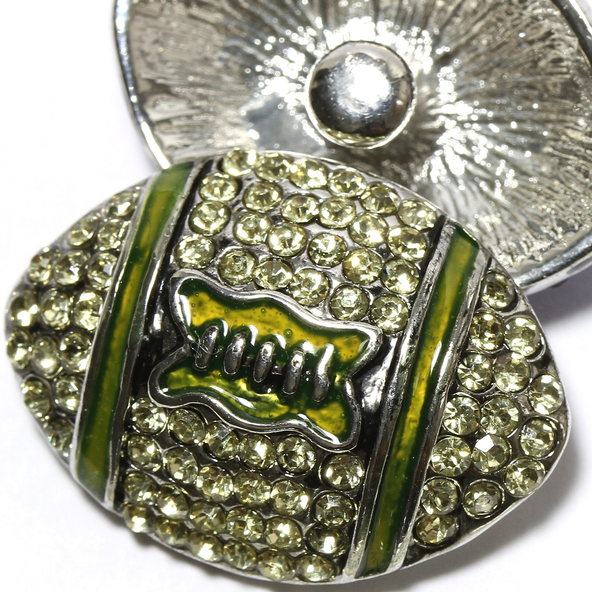 1pc Rhinestone Football 18mm Snap On Charm Lime Green ZR2127