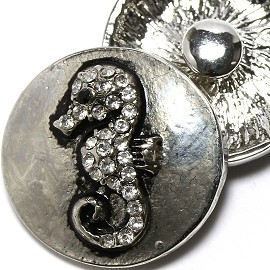 1pc Rhinestone Seahorse 18mm Snap On Charm Black Silver ZR2136