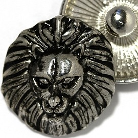 1pc 18mm Lion Head Snap On Button Silver Black ZR2157