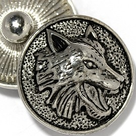 1pc 18mm Wolf Head Snap On Button Silver Black ZR2158