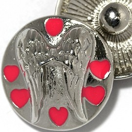 1pc 18mm Angel Wings Hearts Snap On Button Silver Pink ZR2159