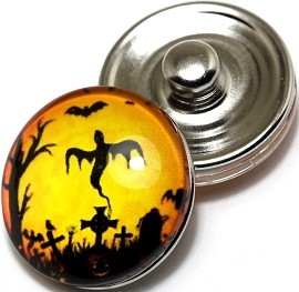 1pc 18mm Snap On Charm Round Halloween ZR234