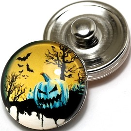 1pc 18mm Snap On Charm Round Halloween Pumpkin ZR236