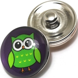 1pc 18mm Snap On Charm Round Green Owl ZR245