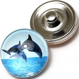 1pc 18mm Snap On Charm Round Dolphins ZR268