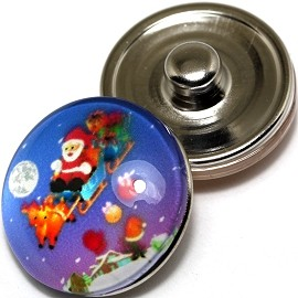 1pc 18mm Snap On Charm Santa Clause Reindeer Sleigh ZR285