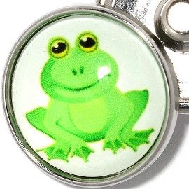 1pc 18mm Snap On Charm Frog Green Silver ZR307