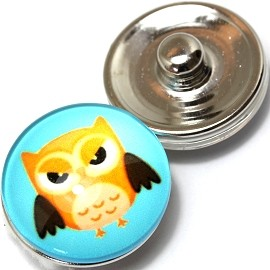 1pc 18mm Snap On Charm Owl Blue Yellow ZR355