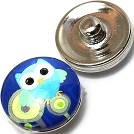 1pc 18mm Snap On Charm Owl Turquoise ZR357