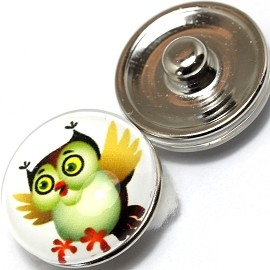 1pc 18mm Snap On Charm Owl White ZR365