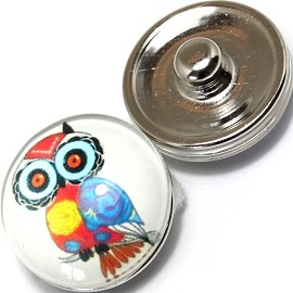 1pc 18mm Snap On Charm Owl Turquoise Red ZR369