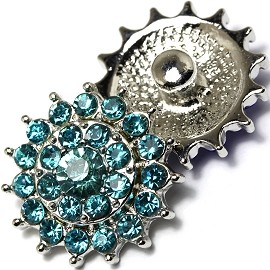 1pc 18mm Snap On Charm Rhinestone Turquoise ZR482