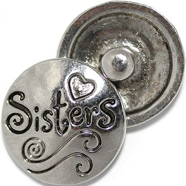 1pc 18mm Round Snap On Charm Sisters Silver ZR507
