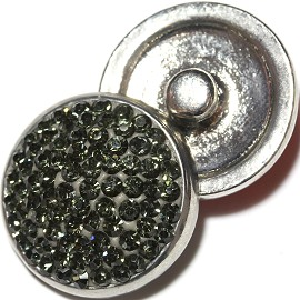 1pc 18mm Snap On Rhinestone Dark Gray ZR611