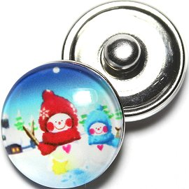 1pc 18mm Snap On Charm Snow Man Kids White Red Blue ZR648