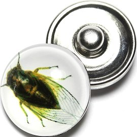 1pc 18mm Snap On Charm Round Insect Fly White Yellow ZR649