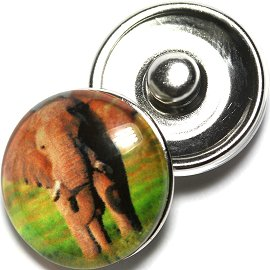 1pc 18mm Snap On Charm Elephant Green ZR654