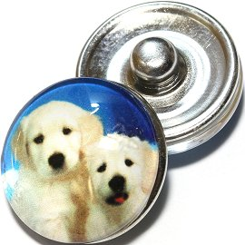 1pc 18mm Snap On Charm Round Dog Blue White Cream ZR713