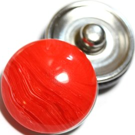 1pc 18mm Marble Snap On Charm Red ZR719
