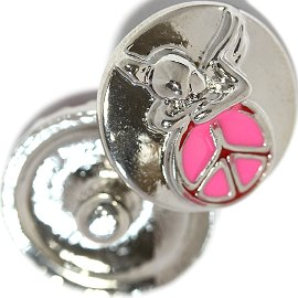 1pc 18mm Angel Peace Sign Snap On Silver Pink ZR727