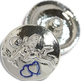 1pc 18mm Cupid Snap On Silver Blue ZR729