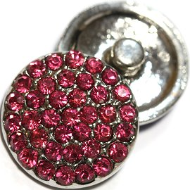 1pc 18mm Snap On Rhinestone Round Magenta ZR744