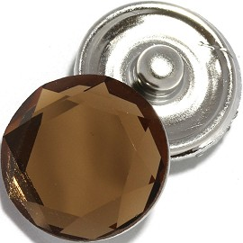 1pc 18mm Snap On Crystal Charm Brown ZR755