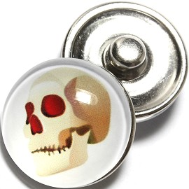 1pc 18mm Snap On Charm Round Halloween Skull ZR780