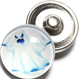 1pc 18mm Snap On Charm Round Halloween Ghost White ZR781