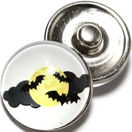 1pc 18mm Snap On Charm Round Bats Moon Halloween ZR784