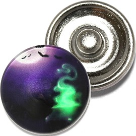 1pc 18mm Snap On Charm Round Halloween Night Purple ZR789