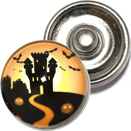 1pc 18mm Snap On Charm Round Halloween Castle Black Orange ZR794