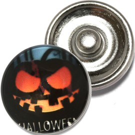 1pc 18mm Snap On Charm Round Halloween Pumpkin Black ZR795