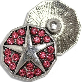 1pc 18mm Round Snap On Charm Rhinestone Star Gray Magenta ZR809