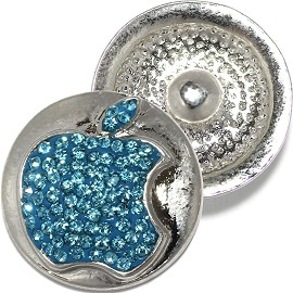 1pc 18mm Snap On Rhinestone Apple Charm Gray Teal ZR811