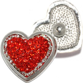 1pc 18mm Round Snap On Charm Rhinestone Heart Red Silver ZR816