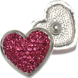 1pc 18mm Round Snap On Charm Rhinestone Heart Purple ZR818