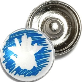 1pc 18mm Snap On Charm Hand Star White Blue ZR912